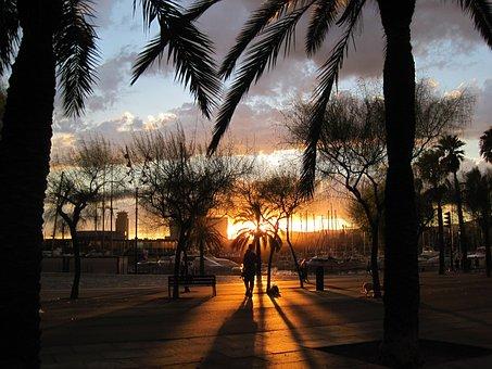 Barcelona, Spain, Tropics, Tropical, Sunset, Sky