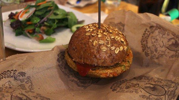 Burger, Veggie, Salad