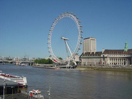 London, Eye, Wheel, Water, River, Thames, Uk, England