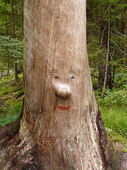 Log, Face, Carving, Wood Carving