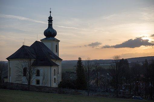 Nečtiny, Jacob, Church, Twilight, Autumn