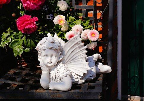 Stone Statue, Angel, Sculpture, Baroque, White