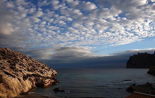 Clouds, Cala San Vicente, Mallorca, Sea, Sky