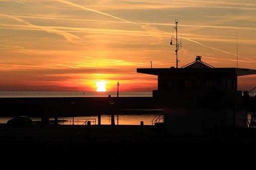 Netherlands, Harlingen, Sunset