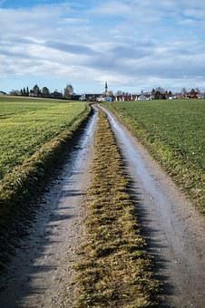 Lane, Village, Away, Agriculture, Arable, Field