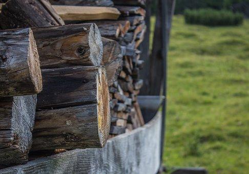 Wood, Hut, Barn, Log Cabin, Nature, Meadow, Brown