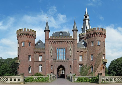Moyland, Germany, Castle, Structure, Sky, Clouds, House