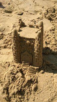 Sandcastle, Sand, Beach, Summer, Sea, Fun, Vacation