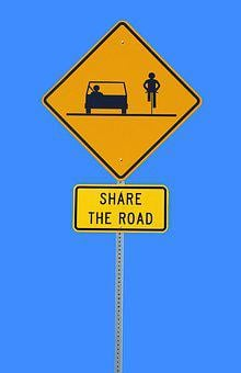 Share The Road, Sign, Bike, Automobile, Symbol, Safety