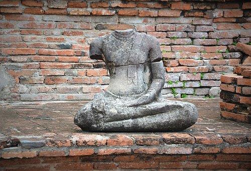 Ayutthaya, Buddha, Wat Mahathat, Steinbuddha, Head