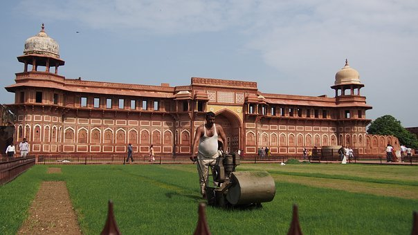 Agra Fort, Red Building, Architecture, Gazon, Care