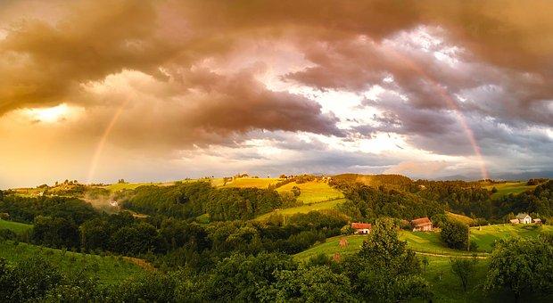 Rainbow, Weather, Sky, Clouds, Panorama, Hills