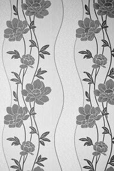 Black And White, Floral, Wall, Texture, White, Black