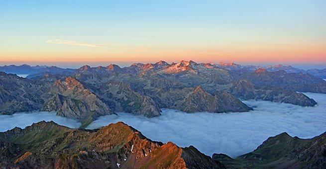 Pyrénées, Mountains, Sun Rise, Landscape, Dawn, France