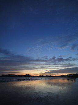 Glow, Sea, Thailand, Krabi, Sunset