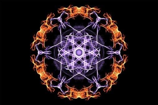 Mandala, Esoteric, Mystic, Magic, Flames, Fire, Blue