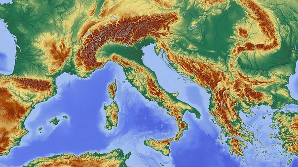 Italy, Alpine, Alpine Region, Map, Relief Map