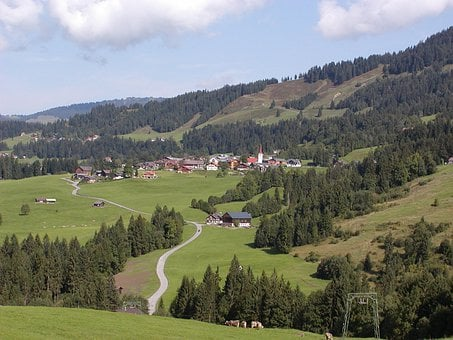 Austria, Landscape, Sky, Clouds, Mountains, Valley