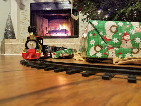 Christmas, Train, Present, Tree, Fireplace, Childhood
