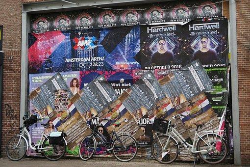 City, Bike, Wheel, Billboard, Culture, Wheels
