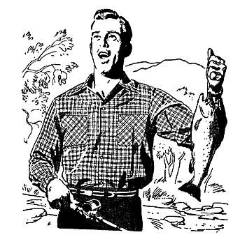 Man, Gentleman, Fishing, Vintage, Fish, Clip, Art, Big