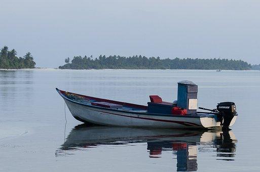 Maldives, Boat, Sea, Twilight