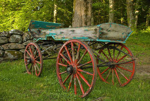 Cart, Old Wood, Flaking Paint, Cart Wheels, Wheel