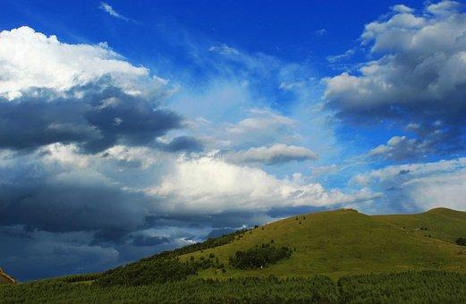 Travel, Blue Sky, White Cloud, Prairie, Rain, Fengning