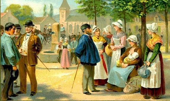 Postal, Scolding Post, Old, France, Checkers, Gentlemen