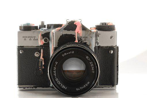 Camera, Analog, Old, Hipster, Used, Flea Market, Broken