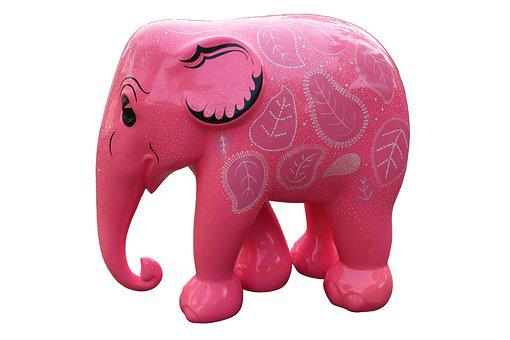 Pink Elephant, Elephant, Pink, Animal, Cartoon, Symbol