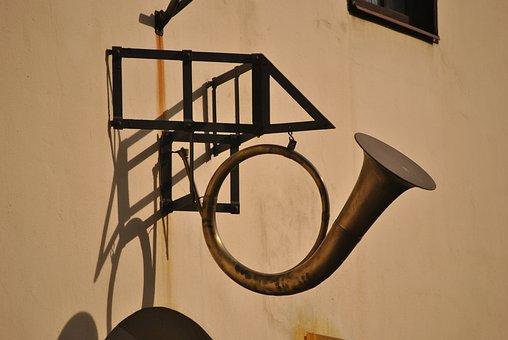 Sign, Submit, Prague, Wall, Horn, Street, Ceska Posta