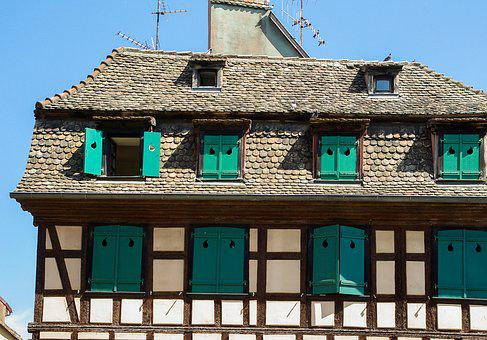 Alsace, Strasbourg, Timbered House, Shutters
