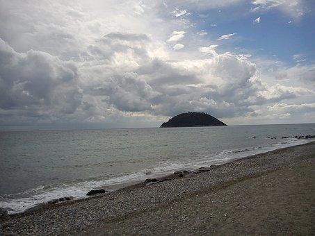 Island, Gallinara, Sea, Clouds, Beach, Landscape
