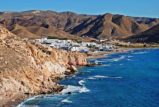 Las Negras, Spaniard, Sea, Beach, Blue, Mountains