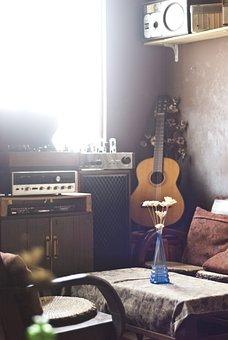 Vintage, Retro, Room, Guitar, Peaceful, Nolgastic