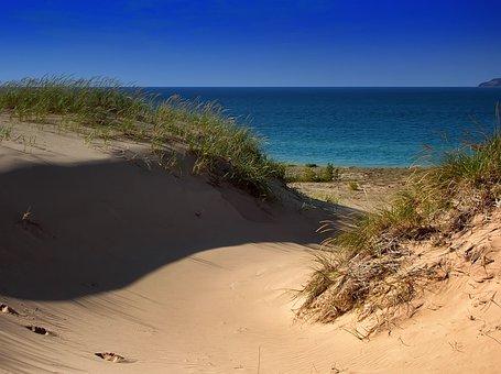 Lake Michigan, Sand Dunes, Water, Sky, Nature, Outside