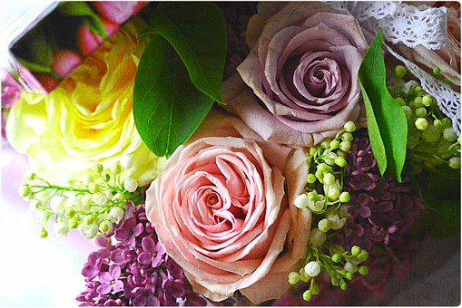 Bouquet, Rose, Liliac, Spring, Flowers