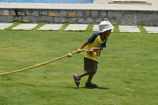 Child, Young, Childhood, Cute, Rope, Game
