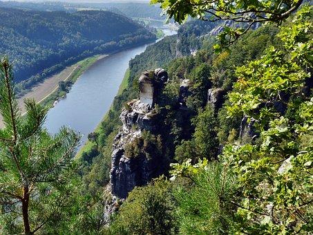 View Of The Bastei To The Elbe, Saxon Switzerland