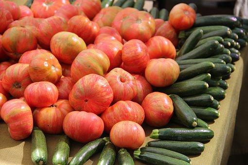 Tomatoes, Zucchini, Garden Veggies, Vegetables, Food