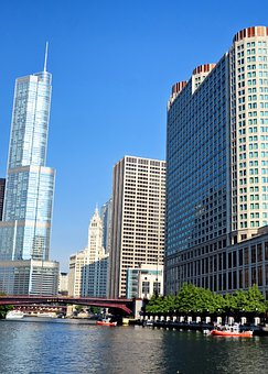 Chicago, Skyscrapers, Buildings, Boat, Skyline, Urban