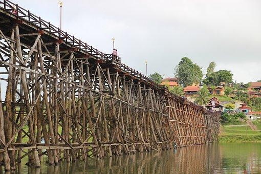 Bridge Sungkha, Bridge, Wooden, Tha Town Bridge, River