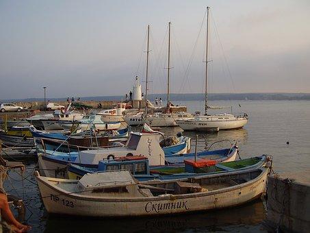 Sea, Port, Bulgaria, Primorsko