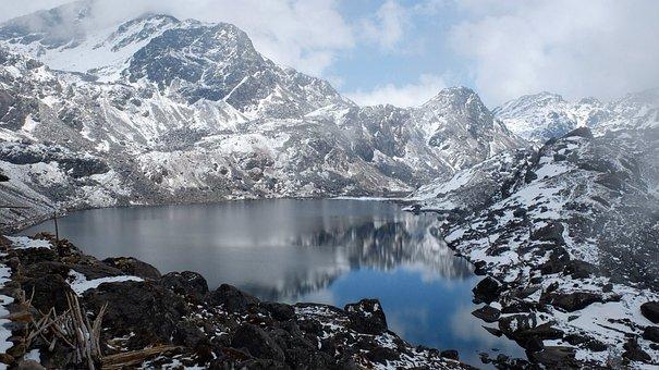 Nepal, Mountains, Bergsee, Mountain, Snow, Asia, Hiking