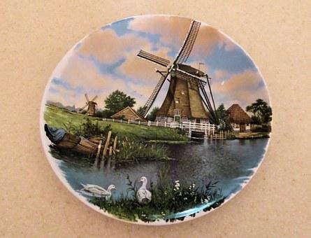 Hand Decorated Plate, Royal Schwabap, Holland, Windmill