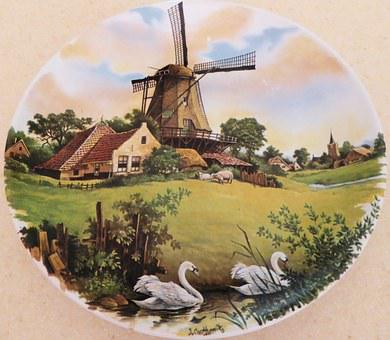 Plate, Hand Decorated, Royal Schwabap, Holland