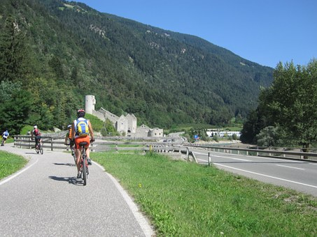 Mountains, Italy, Cyclists, Transalp, Fast, Drive, Away