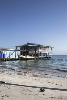 Beach, Hut, Palm, Palmtree, Coast, Shore, Blue, Summer