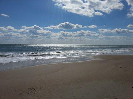 Beaches, Seashore, Cloudy, Sky, White, Fluffy, Clouds